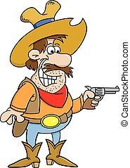Cartoon cowboy holding a pistol.