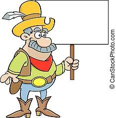 Cartoon cowboy holding a sign.