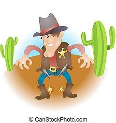 cartoon cowboy illustration - An illustration of a cowboy...