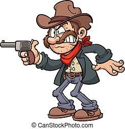 Cartoon cowboy - Cartoon outlaw. Vector clip art...