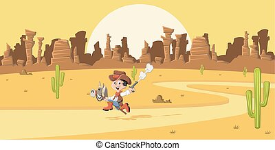 Cartoon cowboy kid galloping on Wild west