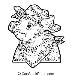 Cartoon cowboy piggy sketch engraving vector illustration. T-shirt apparel print design. Scratch board imitation. Black and white hand drawn image.