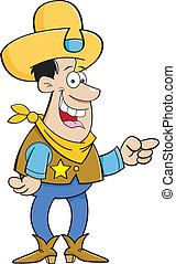 Cartoon cowboy pointing