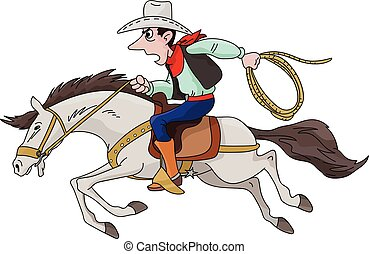 Cartoon cowboy riding his horse fast vector illustration