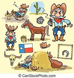 Cartoon cowboy set