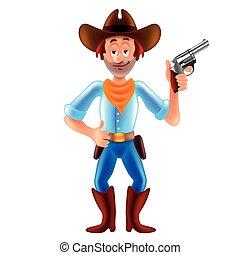 Cartoon cowboy wild west man isolated vector illustration