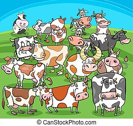 cartoon cows farm animals group