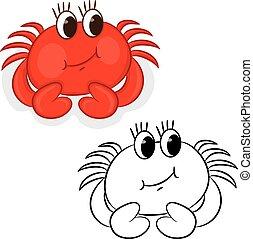 Cartoon crab. Coloring book