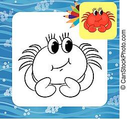 Cartoon crab. Coloring page