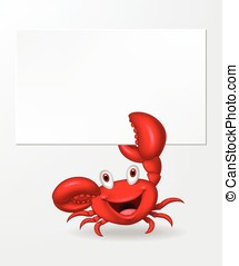 Cartoon crab holding blank sign