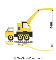 cartoon illustration of a crane, isolated on white background