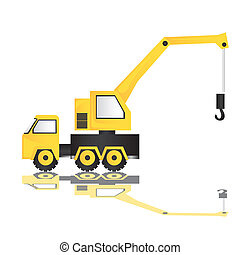 cartoon crane - cartoon illustration of a crane, isolated on...
