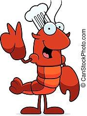 Cartoon Crawfish Chef Peace - A cartoon illustration of a...