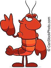 Cartoon Crawfish Peace - A cartoon illustration of a...