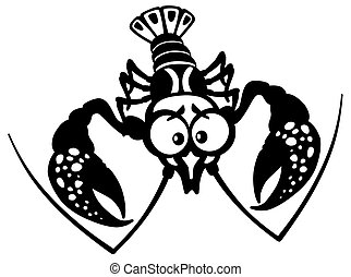 cartoon crayfish black white