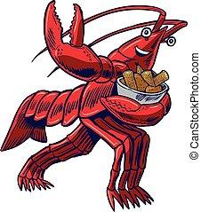 Cartoon Crayfish in Heisman Pose with Corn and Potatoes -...