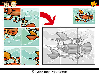 cartoon crayfish jigsaw puzzle game - Cartoon Illustration...