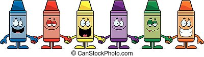 Cartoon Crayons Holding Hands - A cartoon illustration of a...