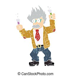 Cartoon crazy scientist. vector illu