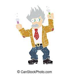 Cartoon crazy scientist. vector illu