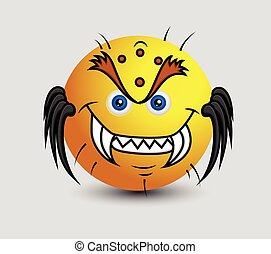 Creepy Halloween Monster Emoticon - Cartoon Creepy Halloween...