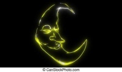 Cartoon Crescent Moon With Face video animation - Cartoon...