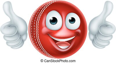 Cartoon Cricket Ball Character