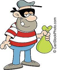 Cartoon illustration of a criminal holding a money bag