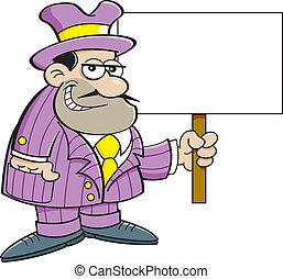 Cartoon criminal holding a sign