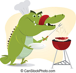 Cartoon Crocodile BBQ