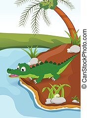 cartoon crocodile beside river