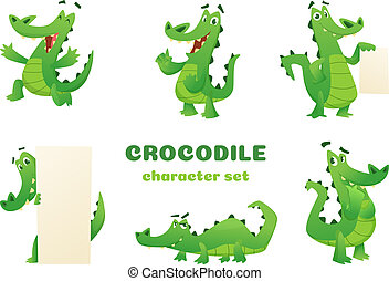 Cartoon crocodile characters. Alligator wild amphibian reptile green big animals vector mascots designs in various poses