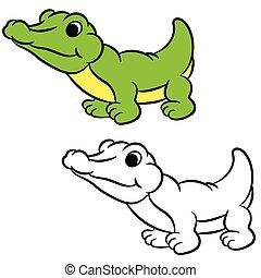 Cartoon crocodile. Coloring book