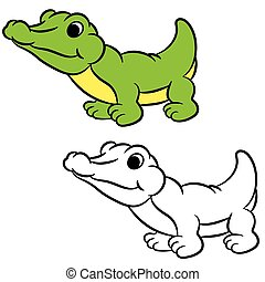 Cartoon crocodile. Coloring book