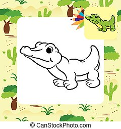 Cartoon crocodile. Coloring page