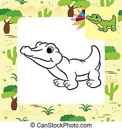 Cartoon crocodile. Coloring page