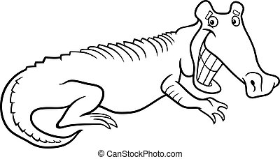 cartoon crocodile for coloring book