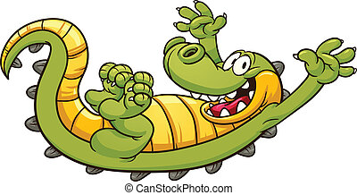 Happy cartoon crocodile. Vector clip art illustration with simple gradients. All in a single layer.