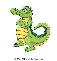 Happy green cartoon alligator. Crocodile isolated on white background.