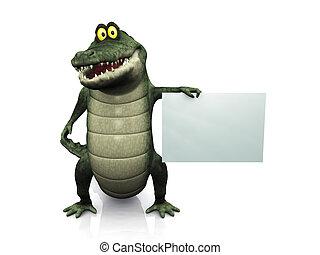 Cartoon crocodile holding blank sign. - An adorable smiling...