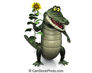 Cartoon crocodile holding sunflower.