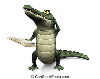 Cartoon crocodile reading book and scratching his head. - A...
