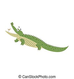 Cartoon Crocodile with Bird in Wide Open Mouth