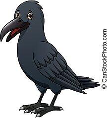 Cartoon crow isolated on white background