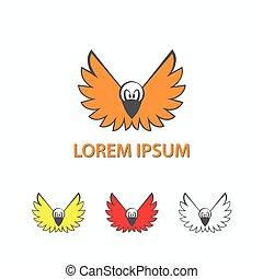 Cartoon crow with open wings. A flying bird logo.