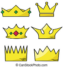 Cartoon illustration of a group of different golden crowns