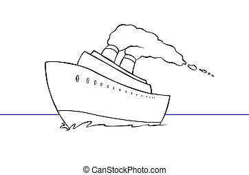 A cartoon cruise ship out on the open sea.