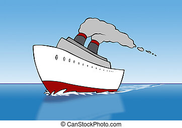 Cartoon Cruise Ship - A cartoon cruise ship out on the open...