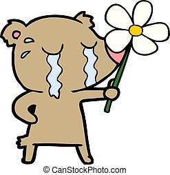 cartoon crying bear with flower