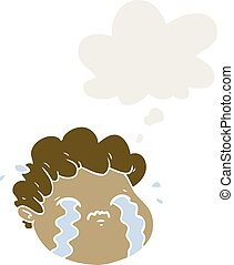 cartoon crying boy and thought bubble in retro style